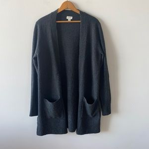 J Crew open long cardigan with pockets